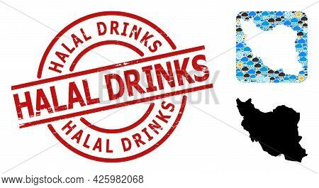 Weather Collage Map Of Iran, And Rubber Red Round Halal Drinks Stamp. Geographic Vector Concept Map