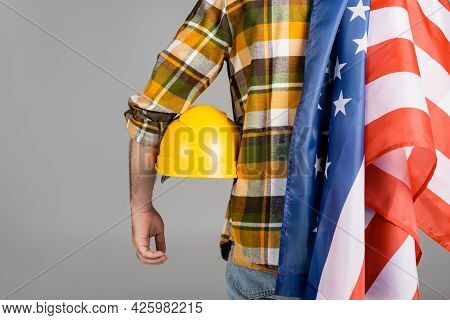 Back View Of Cropped Workman With Hardhat And Usa Flag Isolated On Grey, Labor Day Concept