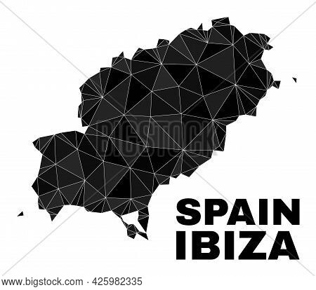 Lowpoly Ibiza Island Map. Polygonal Ibiza Island Map Vector Is Designed Of Scattered Triangles. Tria