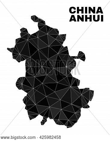 Lowpoly Anhui Province Map. Polygonal Anhui Province Map Vector Is Constructed From Randomized Trian