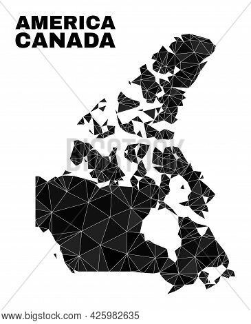 Low-poly Canada V2 Map. Polygonal Canada V2 Map Vector Constructed Of Scattered Triangles. Triangula