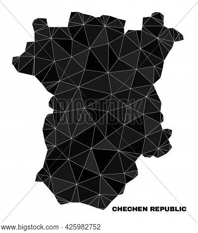 Low-poly Chechen Republic Map. Polygonal Chechen Republic Map Vector Designed With Random Triangles.
