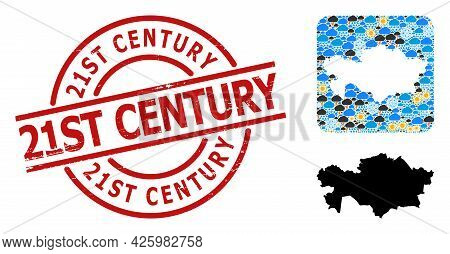 Climate Pattern Map Of Kazakhstan, And Rubber Red Round 21st Century Badge. Geographic Vector Concep