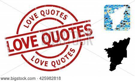 Climate Pattern Map Of Tamil Nadu State, And Grunge Red Round Love Quotes Badge. Geographic Vector C