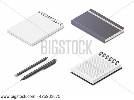 Notepad Notebook Set. Colored Isometric Vector Illustration. Isolated On White Background.