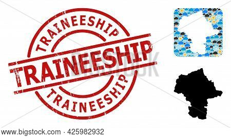 Climate Mosaic Map Of Mazovia Province, And Rubber Red Round Traineeship Badge. Geographic Vector Co