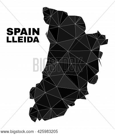 Lowpoly Lleida Province Map. Polygonal Lleida Province Map Vector Constructed With Random Triangles.