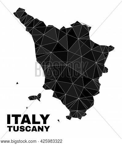 Lowpoly Tuscany Region Map. Polygonal Tuscany Region Map Vector Designed With Random Triangles. Tria