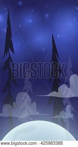 Halloween Card Background With Creepy Forest And Moon