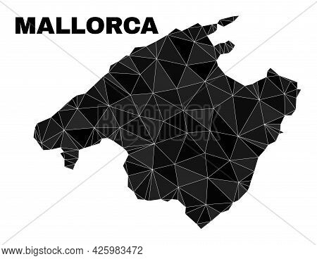 Low-poly Mallorca Map. Polygonal Mallorca Map Vector Is Designed With Chaotic Triangles. Triangulate