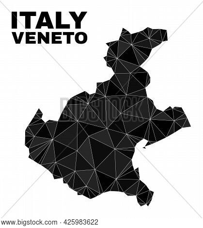 Low-poly Veneto Region Map. Polygonal Veneto Region Map Vector Is Designed From Chaotic Triangles. T