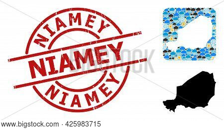 Climate Pattern Map Of Niger, And Grunge Red Round Niamey Stamp. Geographic Vector Mosaic Map Of Nig