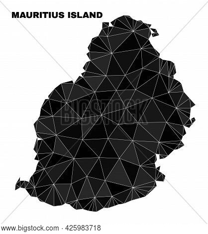 Lowpoly Mauritius Island Map. Polygonal Mauritius Island Map Vector Constructed Of Scattered Triangl