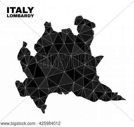 Low-poly Lombardy Region Map. Polygonal Lombardy Region Map Vector Filled With Chaotic Triangles. Tr
