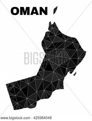 Lowpoly Oman Map. Polygonal Oman Map Vector Combined From Scattered Triangles. Triangulated Oman Map