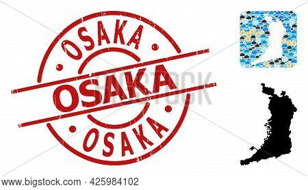 Climate Mosaic Map Of Osaka Prefecture, And Scratched Red Round Osaka Stamp. Geographic Vector Mosai