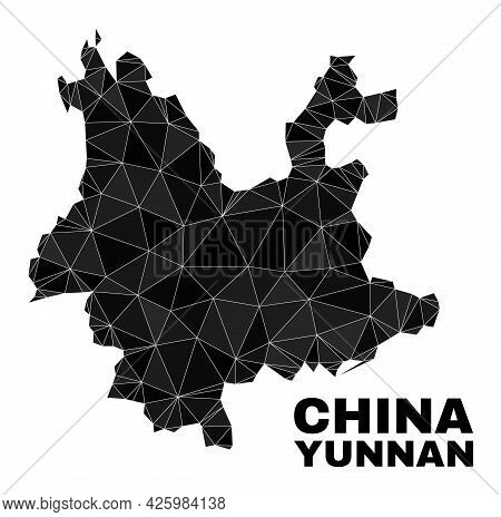 Lowpoly Yunnan Province Map. Polygonal Yunnan Province Map Vector Designed With Random Triangles. Tr