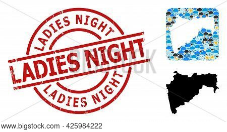 Climate Collage Map Of Maharashtra State, And Grunge Red Round Ladies Night Seal. Geographic Vector