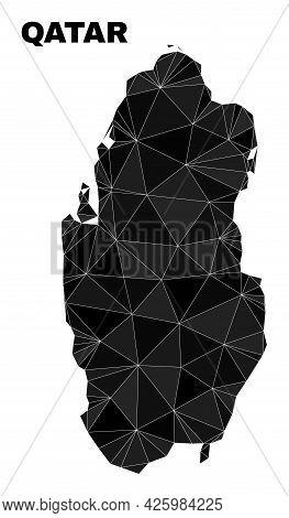 Low-poly Qatar Map. Polygonal Qatar Map Vector Is Filled Of Randomized Triangles. Triangulated Qatar
