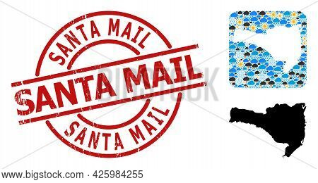 Climate Pattern Map Of Santa Catarina State, And Grunge Red Round Santa Mail Stamp Seal.