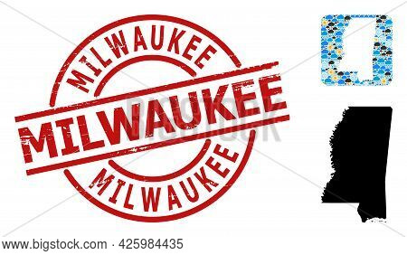 Weather Collage Map Of Mississippi State, And Rubber Red Round Milwaukee Badge. Geographic Vector Co