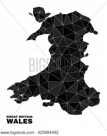 Lowpoly Wales Map. Polygonal Wales Map Vector Designed With Random Triangles. Triangulated Wales Map