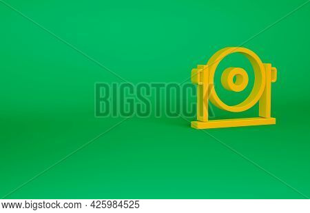 Orange Gong Musical Percussion Instrument Circular Metal Disc Icon Isolated On Green Background. Min