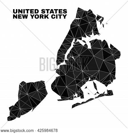 Low-poly New York City Map. Polygonal New York City Map Vector Filled Of Chaotic Triangles. Triangul