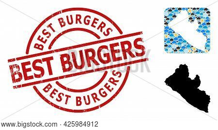 Weather Pattern Map Of Liberia, And Scratched Red Round Best Burgers Seal. Geographic Vector Composi