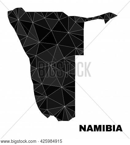 Low-poly Namibia Map. Polygonal Namibia Map Vector Is Filled Of Scattered Triangles. Triangulated Na