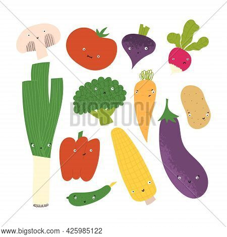 Cute Vegetables With Funny Faces. Hand Drawn Flat Healthy Food With Different Emotions.