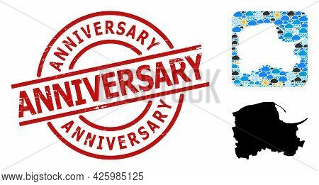 Weather Collage Map Of Pomerania Province, And Scratched Red Round Anniversary Stamp Seal. Geographi