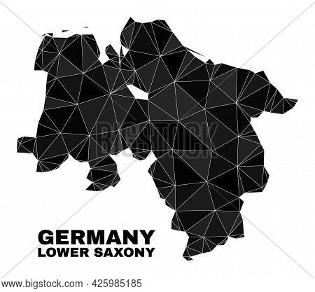 Lowpoly Lower Saxony Land Map. Polygonal Lower Saxony Land Map Vector Is Filled Of Scattered Triangl