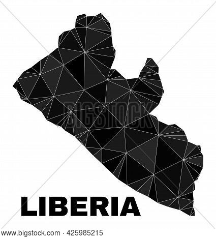 Lowpoly Liberia Map. Polygonal Liberia Map Vector Is Combined With Random Triangles. Triangulated Li