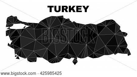 Lowpoly Turkey Map. Polygonal Turkey Map Vector Designed From Random Triangles. Triangulated Turkey