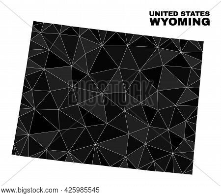 Low-poly Wyoming State Map. Polygonal Wyoming State Map Vector Is Designed From Chaotic Triangles. T