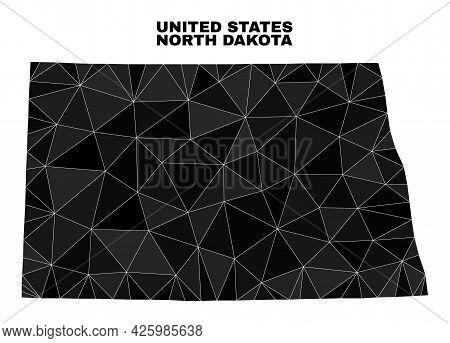 Low-poly North Dakota State Map. Polygonal North Dakota State Map Vector Designed From Randomized Tr
