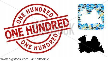 Climate Mosaic Map Of Utrecht Province, And Rubber Red Round One Hundred Badge. Geographic Vector Mo