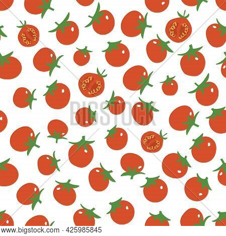 Cherry Tomato Pattern. Fresh Juicy Summer Print For Kitchen. Flat Hand Drawn Tiny Tomatoes.