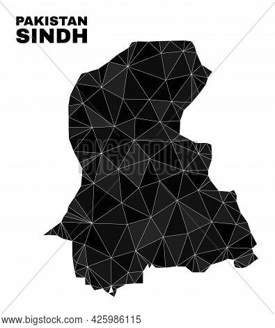 Lowpoly Sindh Province Map. Polygonal Sindh Province Map Vector Constructed Of Scattered Triangles.