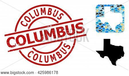 Weather Mosaic Map Of Texas State, And Rubber Red Round Columbus Seal. Geographic Vector Collage Map