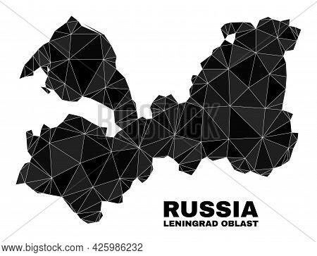 Low-poly Leningrad Region Map. Polygonal Leningrad Region Map Vector Is Combined From Random Triangl