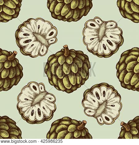 Seamless Pattern With Hand Drawn Colored Sugar-apple Stock Illustration
