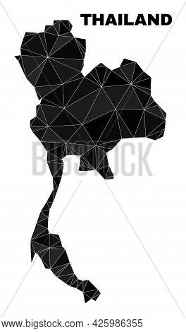 Lowpoly Thailand Map. Polygonal Thailand Map Vector Constructed With Scattered Triangles. Triangulat