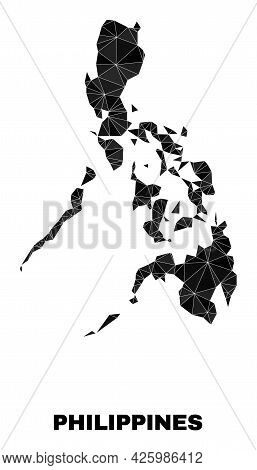 Low-poly Philippines Map. Polygonal Philippines Map Vector Constructed From Chaotic Triangles. Trian