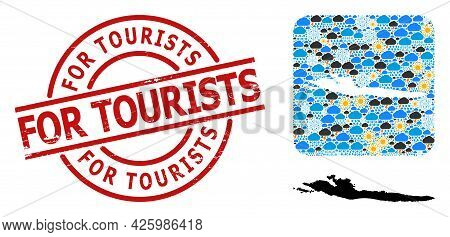 Weather Pattern Map Of Hvar Island, And Scratched Red Round For Tourists Stamp. Geographic Vector Co