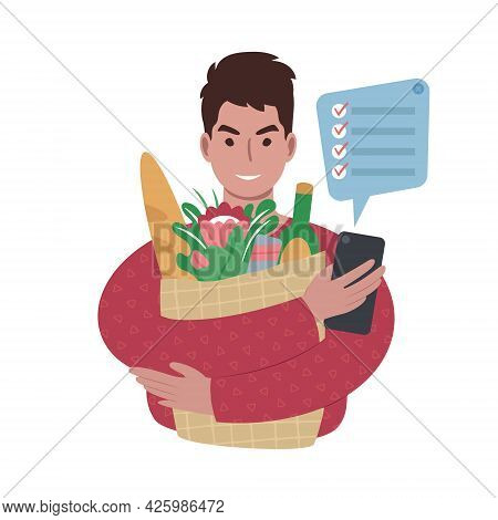 Young Caucasian Man With Groceries Bag And A Shopping List On A Smartphone.