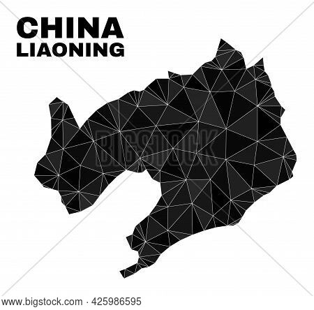 Low-poly Liaoning Province Map. Polygonal Liaoning Province Map Vector Is Designed With Scattered Tr