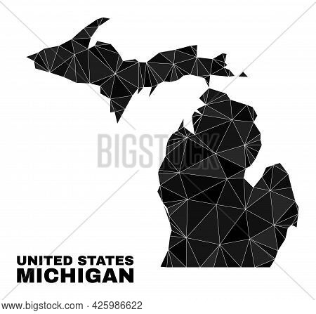 Lowpoly Michigan State Map. Polygonal Michigan State Map Vector Combined Of Chaotic Triangles. Trian
