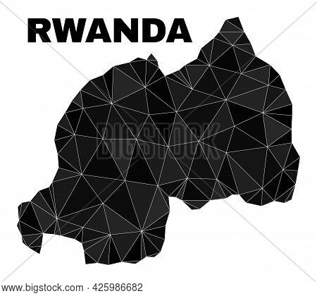 Low-poly Rwanda Map. Polygonal Rwanda Map Vector Filled With Scattered Triangles. Triangulated Rwand